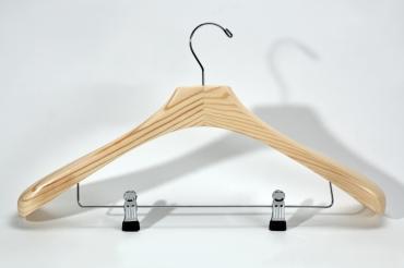 Coat hanger with clips